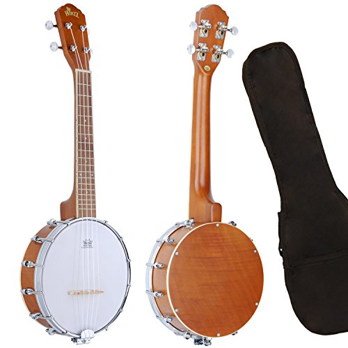 Banjo Uke Ukulele Banjolele WINZZ Okoume 24 Inches 4 Strings Natural Gloss with Padding Bag