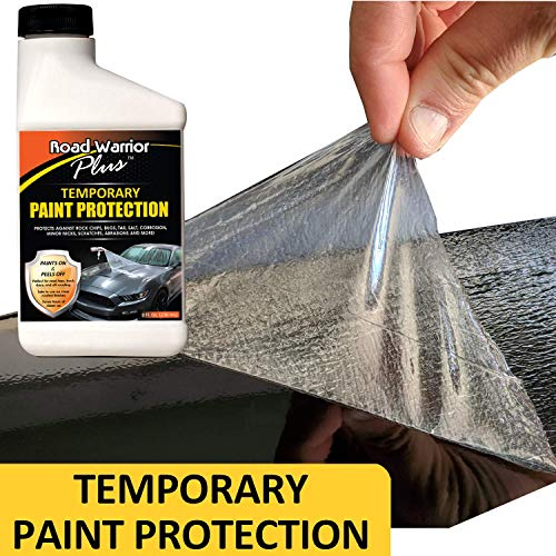 Road Warrior Plus Paint Protection Film - Temporary Roll-On Automotive Exterior Protector from Rocks, Scratch and Chips - Coating Applies White, Dries Clear - Easy Removal - Bonus Applicator - 8oz Kit