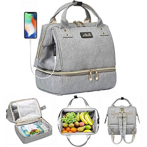 Viedouce Insulated Lunch Bag Backpack Small Picnic Handbag for Travel, Waterproof Cooler Bag, Gray