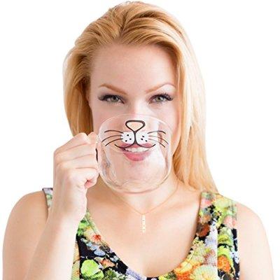 The Original Cat Beard Mug – Cute and Funny Glass Coffee...