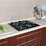 PREMIUM 24' Black Electric Tempered Glass Built-in Kitchen 4 Burner Gas Cooktop