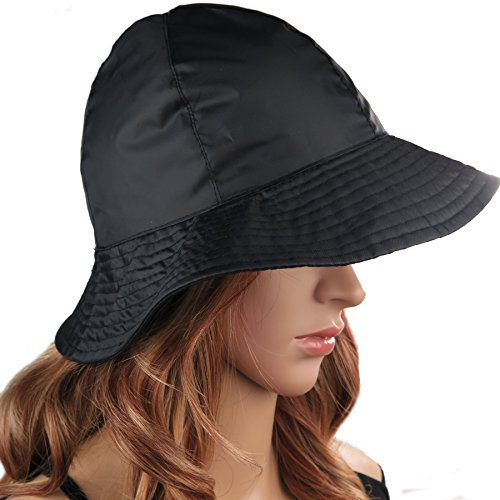 DEBRA WEITZNER Rain Hat Sun Hat 2-In-1 Reversible Cloche Bucket Hat,Black,One Size