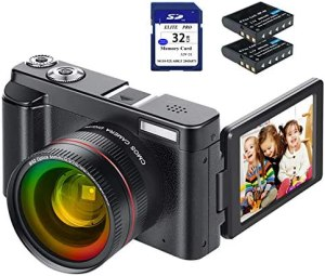 Digital Camera Video Camera FHD 1080P 24MP with Wide Angle Lens, WiFi Function, 3.0 Inch Flip Screen 180° Rotation YouTube Vlogging Camera 16X Digital Zoom Camcorder with 32GB SD Card, 2 Batteries