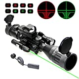 UUQ 4-16x50 Tactical Rifle Scope Red/Green Illuminated Range Finder Reticle W/RED(Green) Laser and Holographic Reflex Dot Sight (12 Month Warranty) 4-16X50 W/Green Laser & Flash Light