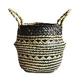 TOKYO HOT Foldable Handmade Storage Basket Folding Wicker Rattan Seagrass Belly Straw Garden Flower Pot Planter Laundry Basket,A,2-27X24Cm