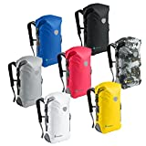 BackSåk Waterproof Backpacks 25L & 35L sizes | Heavy Duty Roll-Top Closure, Easy Access Front-Zippered Pocket, Reflective Trim, Padded Back Support & Cushioned Adjustable Straps | by Skog Å Kust