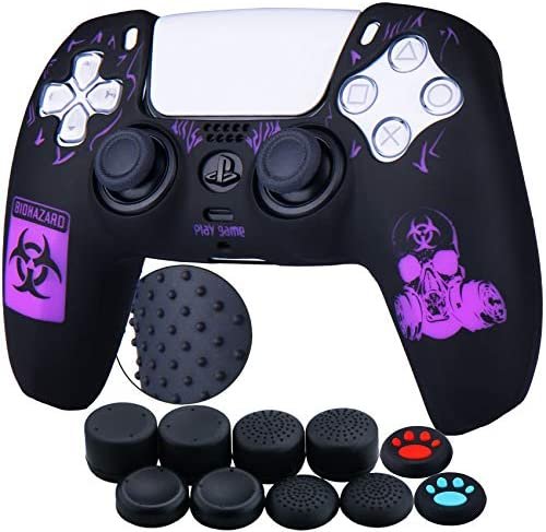 YoRHa Silicone Rubber Back Dots Carving Customizing Skin Cover for Sony PS5 Dualsense Controller x 1(BH Purple) with Pro Thumb Grips x 10