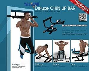 Yes4All Deluxe Chin Up Bar Doorway – Support to 300 lbs, 28 – 37 inch Fit Doorway