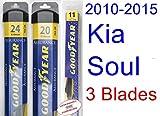 2010-2015 Kia Soul Replacement Wiper Blade Set/Kit (Set of 3 Blades) (Goodyear Wiper Blades-Assurance) (2011,2012,2013,2014)