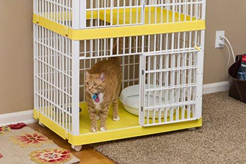 IRIS 2-Tier Cat Cage, Yellow