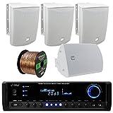 Pyle PT390BTU Bluetooth Digital Home Theater 300-Watt Stereo Receiver Bundle Combo with 4X Dual-Electronics LU53PW 125 Watt 3-Way White Indoor/Outdoor Speakers + Enrock 50ft 16g Speaker Wire