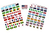 "Made in USA! 100 Stickers Representing The 2019 Women's World Cup Teams with Name; 1.5"" x 1"" Self Adhesive Flag Stickers, Two Sheets of 50 Showcasing 4 Stickers for Each Team & 4 Soccer Ball Stickers"