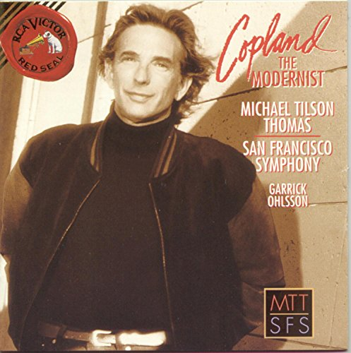 """Cover artwork from """"Copland the Modernist,"""" a recording by the San Francisco Symphony, conducted by Michael Tilson Thomas. New York: BMG Classics, 1996 (09026-68541-2)."""