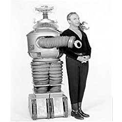 Lost in Space (1965) 8 x 10 Photo B&W Pic Jonathan Harris Posing w/Robot kn