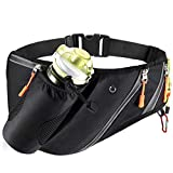 FANSIY Running Waist Pack Waterproof Fanny Bag with Water Bottle Holder for Men Women Running Belt with Reflective Tabs (Black)