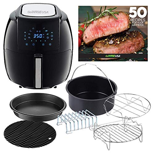 GoWISE USA GWAC22003 5.8-Quarts 8-in-1 Digital 6 Piece Accessory Kit + 50 Recipes for Your Air Fryer Cookbook (Black)