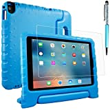 AFUNTA Case & Screen Protector & Stylus Pen Compatible Apple iPad Pro Air 2 9.7 Inch Tablet, Kids Handle Shock Proof Protective Light Weight Stand EVA Housing for 2016 Release - Blue