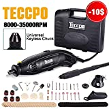 Rotary Tool, TECCPO 8,000-35,000RPM 5-Speed Variable Speed Rotary Tool, Universal Keyless Chuck, 80 Accessories, 4 Attachments, Multi-Functional for Around-the-House Crafting Projects