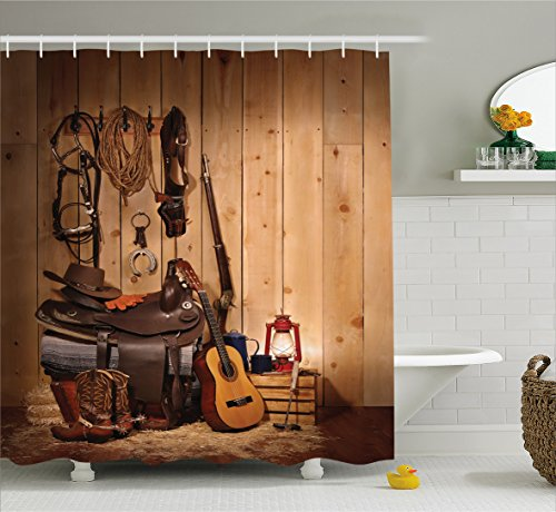 Western Decor Shower Curtain by Ambesonne, American Texas Style Country Music Guitar Cowboy Boots USA Folk Culture, Fabric Bathroom Decor Set with Hooks, 70 Inches, Sand Brown Chocolate