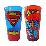 Silver Buffalo SP031P1 DC Comics 2 Piece Comics Superman Red-Monogram & Uniform Pub Glass Sets-Colored Glass, 16 oz, Multicolor