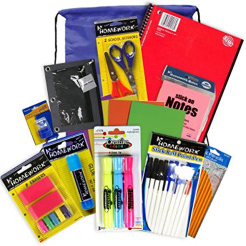 School, College, Work or Home Office Supplies in a Drawstring Backpack Color will Vary