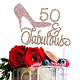 High Heel 50 & Fabulous Pink and Gold Rhinestone Birthday Cake Topper Fifty Birthday Cake Topper Premium Sparkly Crystal Rhinestone Bday Party Decorations