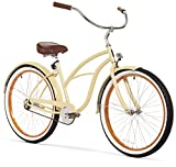 sixthreezero Women's Single Speed Beach Cruiser Bicycle, Scholar Cream w/Brown Seat/Grips, 26