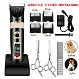 kiizon Dog Grooming Clippers 3-Speed Professional Rechargeable Cordless Pet Clippers&Hair Trimmer Tool Kit/Set for Thick Coats Cats with LED Screen Indication Intelligent Protection