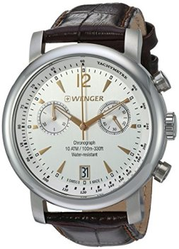 Wenger Men's Urban Classic Chrono Swiss-Quartz Watch with Leather Calfskin Strap, Brown, 20 (Model: 01.1043.110)