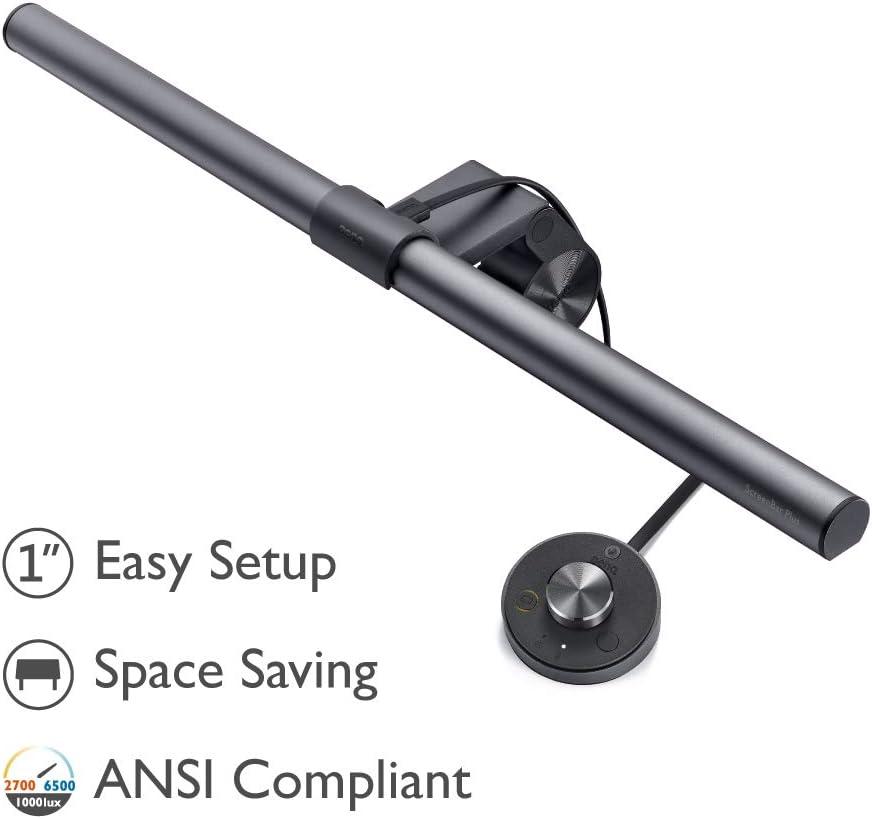 BenQ ScreenBar Plus LED Lampe de Bureau, capteur de lumière, s'accroche au Moniteur pour Gagner de l'espace, Lampe Noir Mat Alimentée par USB …