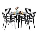 PHI VILLA 5 Piece Metal Patio Dining Set 37' Square Patio Bistro Table and Garden Backyard Chairs - Umbrella Hole 1.57'