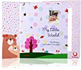 BABY MEMORY BOOK AND JOURNAL - FIRST 5 YEARS - 72 PAGES -100 PHOTO SPACES- MODERN BABY SHOWER GIFT AND KEEPSAKE FOR NEW PARENTS TO RECORD PHOTOS AND MILESTONES CUTE BABY SCRAPBOOK & ALBUM FOR BOY GIRL