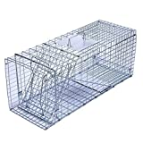 Trapro Large Collapsible Humane Live Animal Cage Trap for Raccoon, Opossum, Stray Cat, Rabbit, Groundhog and Armadillo - 32' x 11' x 13'
