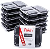 Paksh Novelty Meal Prep Lunch Containers with Super Easy Open Lids - BPA-Free, Reusable, Microwavable - Bento Box Food Containers for Portion Control, and Leftovers (10 Pack) (3 Compartment)