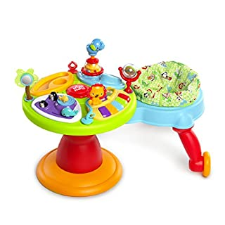 Running around in circles can be a good thing! Meet the most active activity center for your baby. The seat rotates allllllll the way around the baby activity saucer. Your bold baby can run and play in one place! Let your little one move from toy to ...