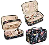 Travel Jewelry Organizer Case,Storage Bag Holder for Earrings,Necklace,Rings,Watch - Girl Portable Jewelry Case Black-Flower