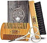 Viking Revolution Beard Comb & Beard Brush Set for Men - Natural Boar Bristle Brush and Dual Action...