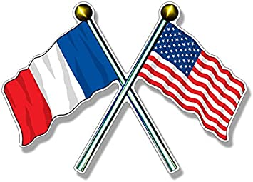 Amazon.com: USA and France Flags on Poles Sticker (American French):  Automotive