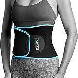 EzyFit Waist Trimmer Premium Weight Loss Ab Belt for Women & Men Exercise Workout Sweat Enhancer Adjustable Fat Burner Stomach Wrap Sweet Abdominal Muscle & Back Support, Black Blue Trim Fits 24'-42'