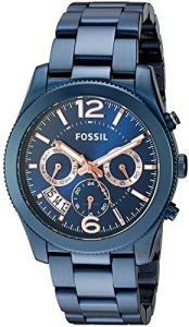 Fossil Women's Perfect Boyfriend Quartz Stainless Steel Chronograph Watch Color: Blue (Model: ES4093)