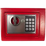 Yuanshikj Electronic Deluxe Digital Security Safe Box Keypad Lock Home Office Hotel Business Jewelry Gun Cash Use Storage (Red, 17E)