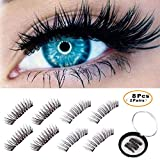 BONNIE CHOICE 8 Pcs Magnetic False Eyelashes Extension, No Glue Ideal for Deep Round Eyes Triple Magnet Hand Made Fake Eye Lash Extension False Set for Natural Look (2 Pairs)