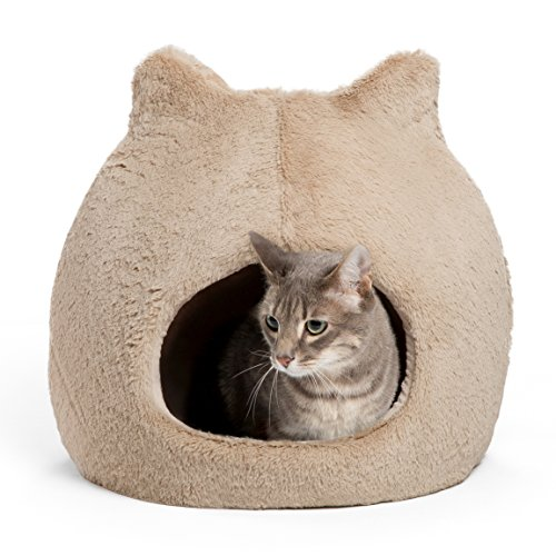 "Best Friends by Sheri Meow Hut in Fur - 360 Coverage, Machine Washable Cat/Dog Bed, 19""x19""x20"""