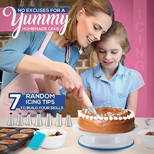 35PCs Cake Turntable and Leveler-Rotating Cake Stand with Non slip pad-7 Icing Tips and 20 Bags- Straight & Offset Spatula-3 Scraper Set -EBook-Cake Decorating Supplies Kit -Baking Tools & Accessories