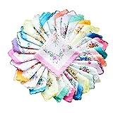 COCOUSM Womens Vintage Floral Print Cotton handkerchiefs Bulk 5 PCS