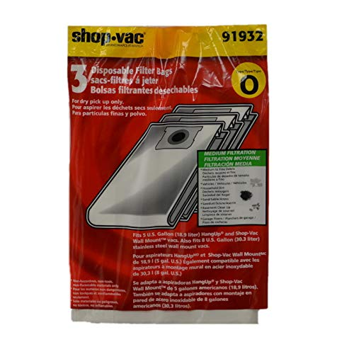 Shop Vac Corporation 9193200 Paper Bag, Hangup/Bulldog 5 Gallon 3 Pk