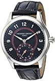 Frederique Constant Men's Horological Smart Watch Stainless Steel Swiss-Quartz Leather Calfskin Strap, Black, 20 (Model: FC-285BBR5B6)