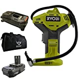 Ryobi P737 Portable Power Inflator with P118 Charger, P102 Lithium-ion Battery and 15 Inch Buho Tool Bag