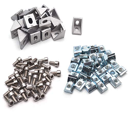 Antrader-20-Sets-2020-Series-European-Standard-Aluminum-Profile-Connector-20pcs-Aluminium-Corner-Brackets-40pcs-M5-x-10mm-T-Slot-Nuts-40pcs-M5x10mm-Hex-Socket-Screw-Bolt-Used-for-Reinforcing