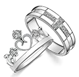 Gold Plated Cubic Zirconia Water Prints Couple Ring For Men Size 7